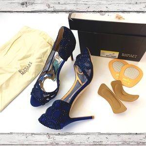 ONLY TRIED ON Badgley Mischka navy blue heels 7.5